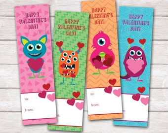 Printable Valentines, Bookmark Valentines, Kids Valentines, Monster Valentines, Cute Monster Valentines, Valentine Monsters Bookmarks