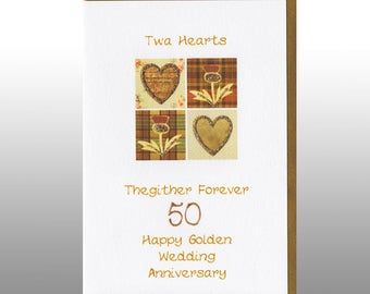 Golden Wedding Twa Hearts Card WWWE17