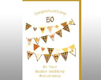 Golden Anniversary Hearts Bunting Card WWWE18