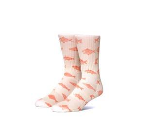 Pink Fish Graphic Socks