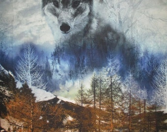 "Wolf over the mountain Panel,24""x44""Red Rooster Fabrics"
