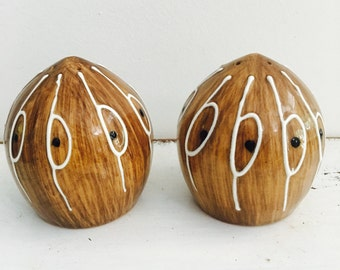 The cutest Pair of Coconut Salt and Pepper Shakers