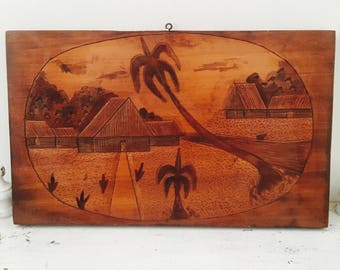Vintage Wood Wall Hanging Tiki Tropical