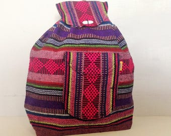 Mexican Multicolor Woven Bag Mexican Purse Pinzon Ethnic Bag Boho Hipster Back Pack Style