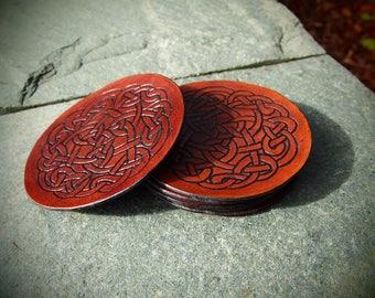 celtic coasters, leather coasters, set of 6 celtic coasters, leather celtic