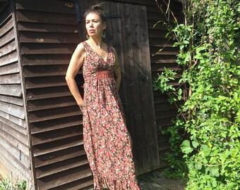 Vintage 70's Floral Sleeveless Maxi Dress Size 10