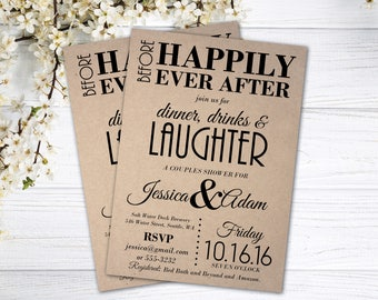 Couples Shower Invitation | Couples Shower Invite | Rustic Wedding Shower Invite | Before Happily Ever After | Dinner, Drinks, And Laughter