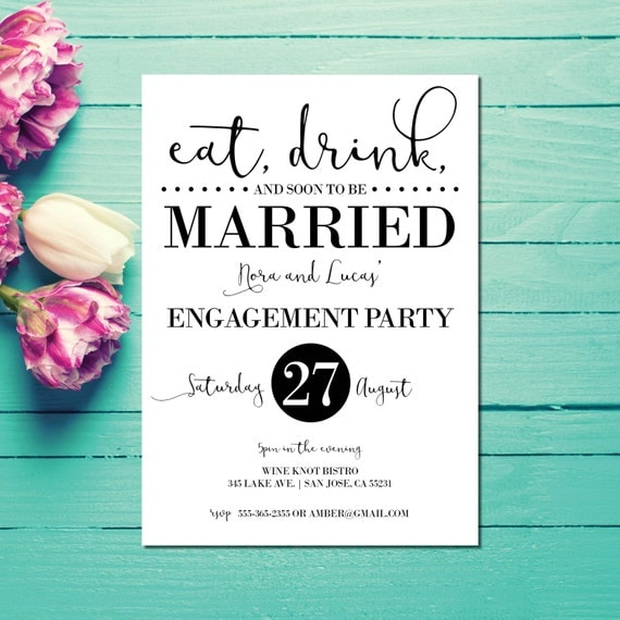 Engagement invitations engagement party invite eat drink for Etsy engagement party invites