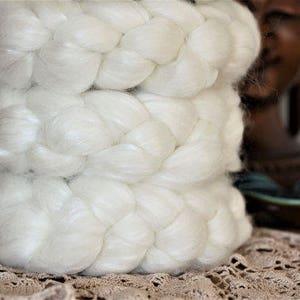 Natural White 3.5 oz (100 grams) of Luxurious soft Fiber for spinning, felting or fiber art.