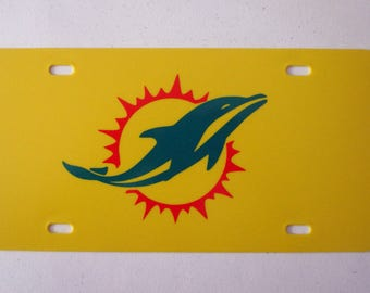 Miami Dolphins License Plate - Miami Dolphins Logo - Miami Dolphins Sticker - Miami Dolphins Auto Tag