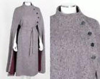 Vintage Jimmy Houihan Wool Donegal Tweed Cape Coat Sz Small