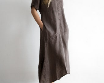 Loose Maxi Linen Dress with Short Sleeves and Pockets