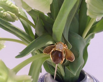 Floral Jewelry Stick - Brown Bee