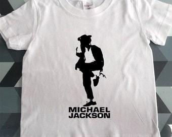 Awesome Shortsleev Michael Jackson Print Kids White T- shirt High Quality Cotton Unisex Todler Clothes Gift Kids Outfit  Custom Prints