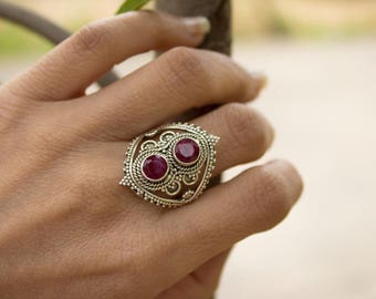 Ruby Ring, Pure 925 Sterling Silver Ring, Boho Ring, July Birthstone Ring, Silver Ruby Ring, Ruby Ring, Ruby Jewelry