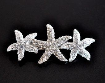 Handmade Crystal Rhinestone Triple Starfish Hair Barrette (Sparkle-2443)