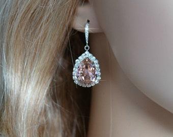Handmade Blush Pink Swarovski Vintage Rose Pear Crystal Earrings (Sparkle-2602)