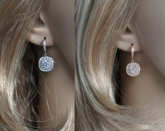 White or Rose Gold Handmade Vintage Inspired Cubic Zirconia Dangle Earrings, Bridal, Wedding (Sparkle-2090)