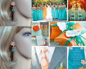 Handmade Swarovski Lt Turquoise & Tangerine Double Crystal Fancy Square Radiant Cut Leverback Earrings, Bridal, Wedding (Sparkle-2632-LTQT)