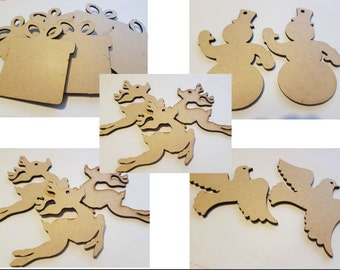 5x wooden blank christmas shapes christmas baubles ready to paint