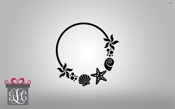 beach theme monogram frame cut file