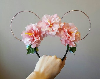 Pink Peony Mermaid Floral Mouse Ears
