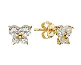 14k Solid Yellow Gold Stud Earrings Margo 2246 Charming Flower Design Lovely