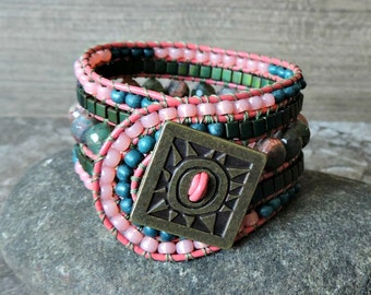 Beaded Cuff Bracelet. 5 Row Cuff Bracelet. Boho Cuff Bracelet. Leather Cuff. Beaded Leather Wrap Bracelet. Beaded Bracelet.