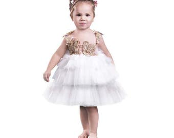 White Flower Girl, birthday girl, couture dress, handmade embroidery dress, application gold dress, tutu dress, gold dress