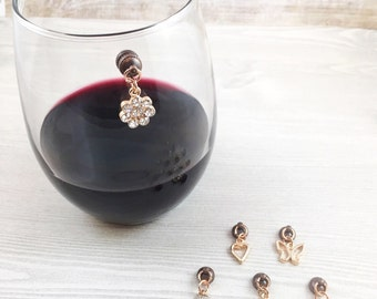 6 Gold Magnetic Wine Glass Charms, Stemless Wine Glass Charms, Gold Charms, Gift for Her, Housewarming Gift, Wine Lovers, Wine Accessories