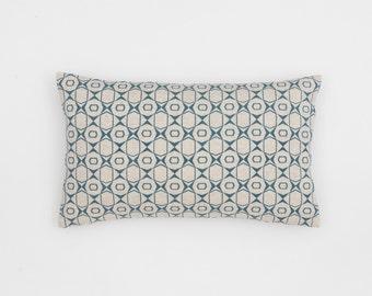 Petek Handscreen Printed Cushion Cover - Teal Blue 30x50cm