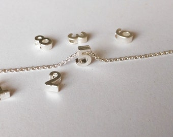 7X5mm Mini 3D Number Charm, Matte Silver Number charm,  Can Add to necklace or Bracelet, Personalized Lucky Number Charm, Bead