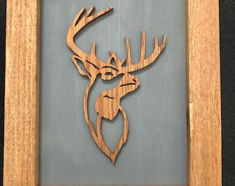 Deer Stag Framed Wooden Scroll Cut Art