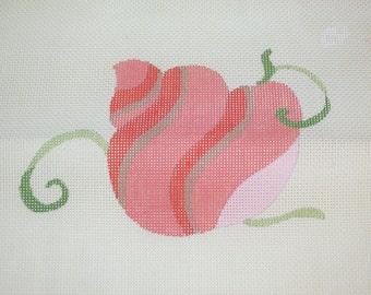 Vintage 1970s Needlepoint Canvas Pink Seashell Design