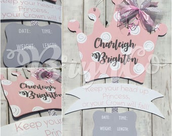Princess / Crown / Hospital Door Hanger / Baby Girl / Birth Announcement / Hospital Wreath