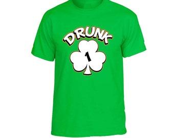 st Patrick's Day Shirt Unisex Tee Shirt Drunk Shamrock 1 2 3 4 5 6 Cool Drunk Green Irish Tee Shirt