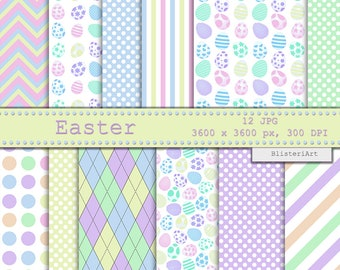 Easter digital paper - 12 printable backgrounds, 3600 x 3600 - Easter egg backgrounds - digital download - pastel color easter digital paper
