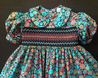SPECIAL ORDER, Classic Smocked Dress Fully Lined 100%  Cotton Special made Sizes 1/1T-6/6T