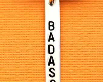 Badass Charm, Badass Necklace, Sterling Silver, Badass Bar Charm, Badass Jewelry, Badass Bar Necklace, Badass Charm, Hand Stamped, Bar Charm
