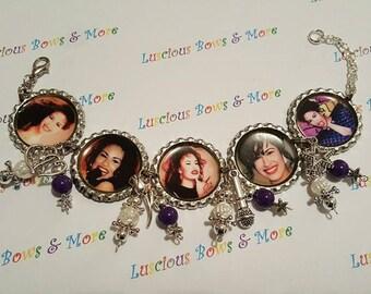 Selena Bracelet, Queen of Tejano Bracelet, Selena Queen of Tejano Bracelet, Charm Bracelet, Bottle Cap Bracelet