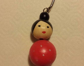 Key ring / bag Japanese doll red silver spotted jewel