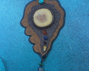 Recycled leather, timber, crystal, feather and bead necklace