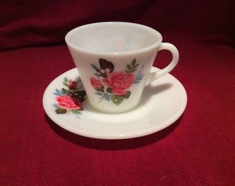 Pyrex JAJ Cottage Rose Tea Cup and Saucer