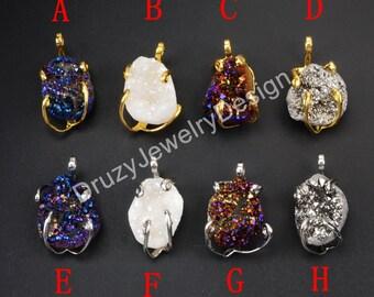 Gold Charm,Silver Charm,Prong Setting Charm,Oval Charm,Rainbow Titanium Druzy Quartz Charm,Druzy Jewelry,Gold Druzy,Silver Druzy,WX114
