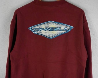 RARE!!! O'NEILL Surf Big Logo Crew Neck Red Colour Sweatshirts Hip Hop Swag L Size