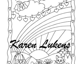 Rainbow Bridge, 1 Adult Coloring Book Page, Printable Instant Download