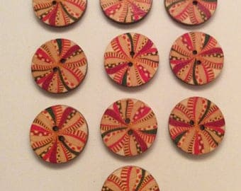 10 x vintage style wooden buttons