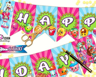 Shopkins banners, Shopkins Birthday banner, Shopkins flags, Shopkins Happy Birthday Banner, Shopkins bunting, Shopkins instant download