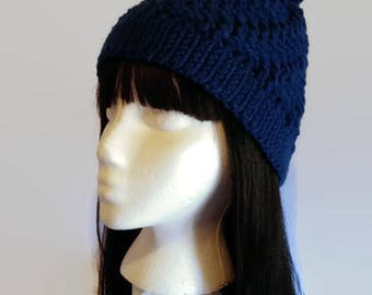 Royal Blue Textured Hat  Adult Crocheted Hat with Pom-Pom