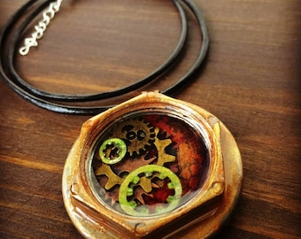 Red and Gold Steampunk pendant